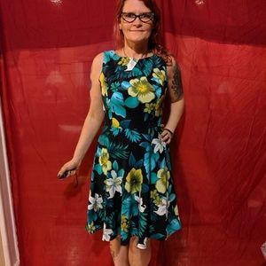 Tropical mid length dress
